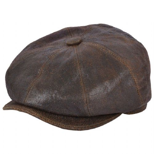 Newsboy Cap Distressed Leather - 8 piece - Brown